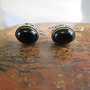 Vintage Sterling Bali Onyx Hook Earrings
